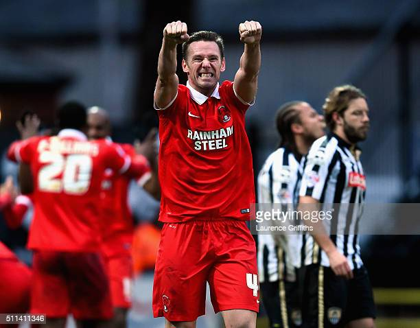 Kevin Nolan of Leyton Orient celebrates the goal of Shaun Brisley during the Sky Bet League Two match between Notts County and Leyton Orient at...