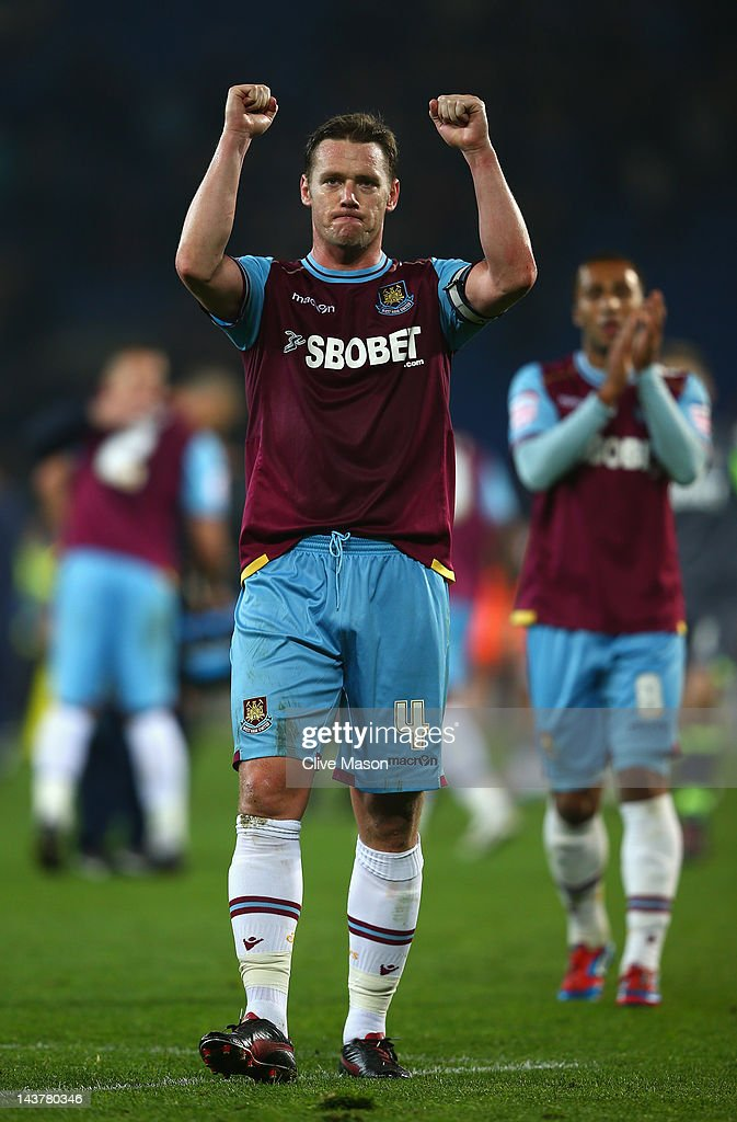 <a gi-track='captionPersonalityLinkClicked' href=/galleries/search?phrase=Kevin+Nolan&family=editorial&specificpeople=206775 ng-click='$event.stopPropagation()'>Kevin Nolan</a> of West Ham acknowledges the fans after the Npower Championship Playoff Semi Final 1st leg match between Cardiff City and West Ham United at the Cardiff City Stadium on May 3, 2012 in Cardiff, Wales.