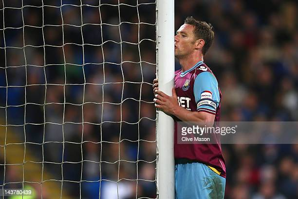 Kevin Nolan of West Ham rues a missed opportunity during the Npower Championship Playoff Semi Final 1st leg match between Cardiff City and West Ham...