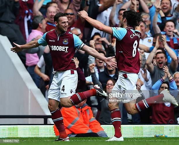 Kevin Nolan of West Ham United celebrates his goal with Andy Carroll of West Ham United during the Barclays Premier League match between West Ham...