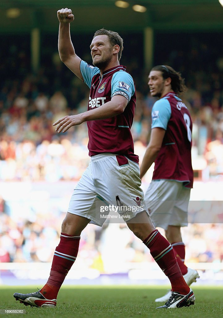 Kevin Nolan of West Ham United celebrates his second goal during the Barclays Premier League match between West Ham United and Reading at the Boleyn...