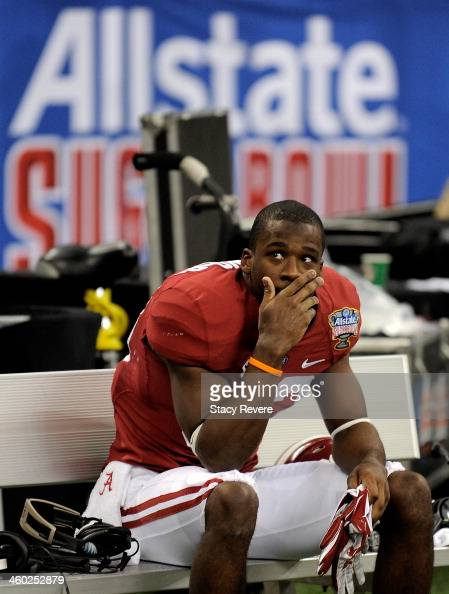 Kevin Norwood of the Alabama Crimson Tide sits on the bench after losing to the Oklahoma Sooners 4531 in the Allstate Sugar Bowl at the MercedesBenz...
