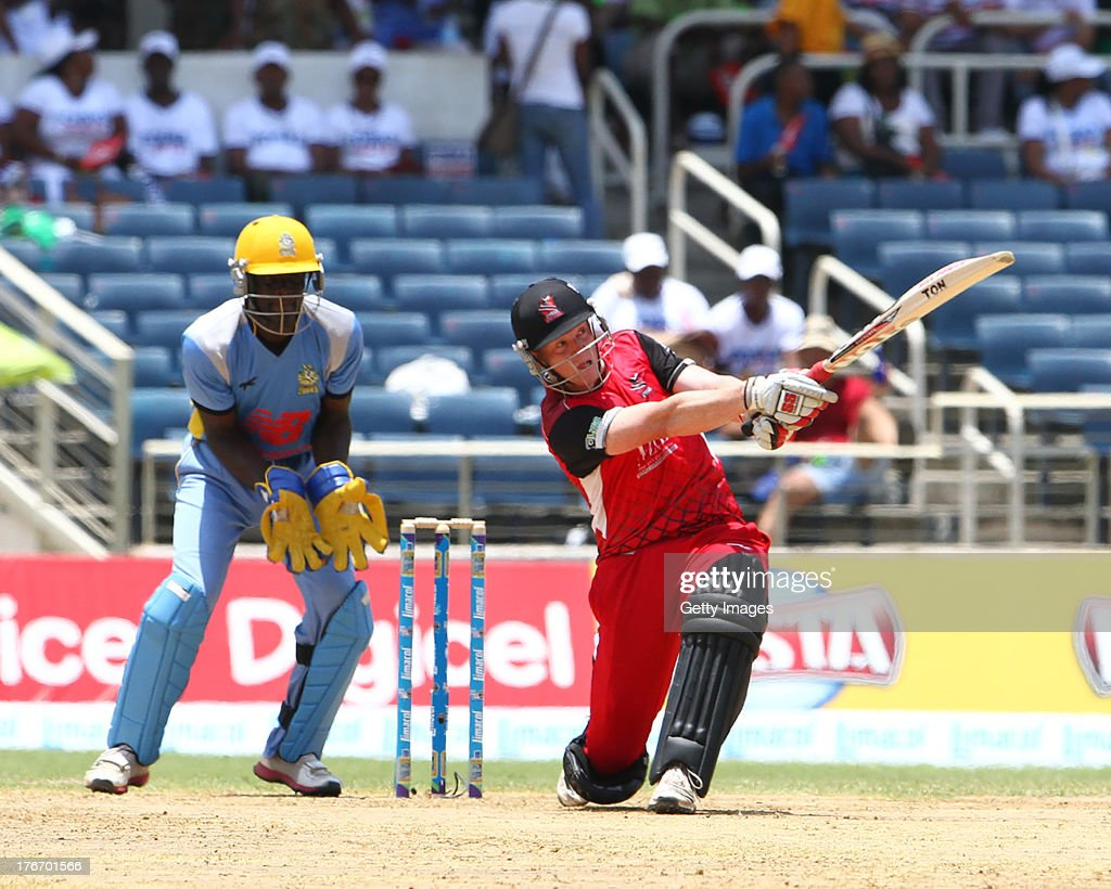 Kevin O'Brian slog sweeps a six over midwicket during the Eighteenth Match of the Cricket Caribbean Premier League between St. Lucia Zouks v Trinidad and Tobago Red Steel at Sabina Park on August 17, 2013 in Kingston, Jamaica.
