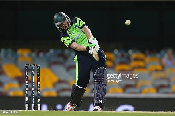 Kevin O'Brien of Ireland bats during the 2015 ICC Cricket World Cup match between Ireland and the United Arab Emirates at The Gabba on February 25...