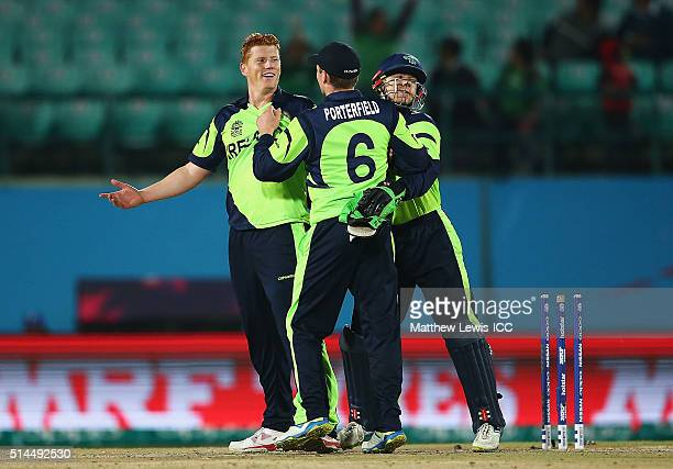 Kevin O'Brien of Ireland celebrates bolwing Khawar Ali of Oman during the ICC Twenty20 World Cup match between Ireland and Oman at the HPCA Stadium...