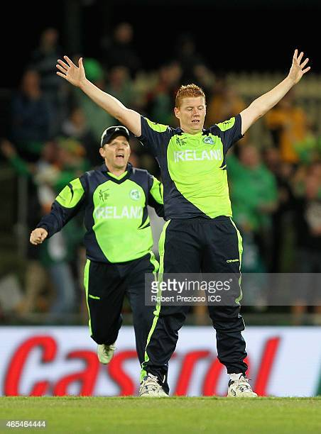 Kevin O'Brien of Ireland celebrates the wicket of Sean Williams of Zimbabwe during the 2015 ICC Cricket World Cup match between Zimbabwe and Ireland...