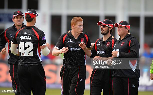 Kevin O'Brien of Leicestershire Foxes celebrates taking the wicket of Phil Mustard of Durhm Jets during the NatWest T20 Blast match between...