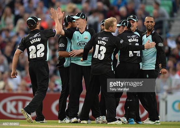 Kevin OBrien of Surrey celebrates running out Mark Pettini of Essex Eagles during the NatWest T20 Blast match between Surrey and Essex Eagles at The...