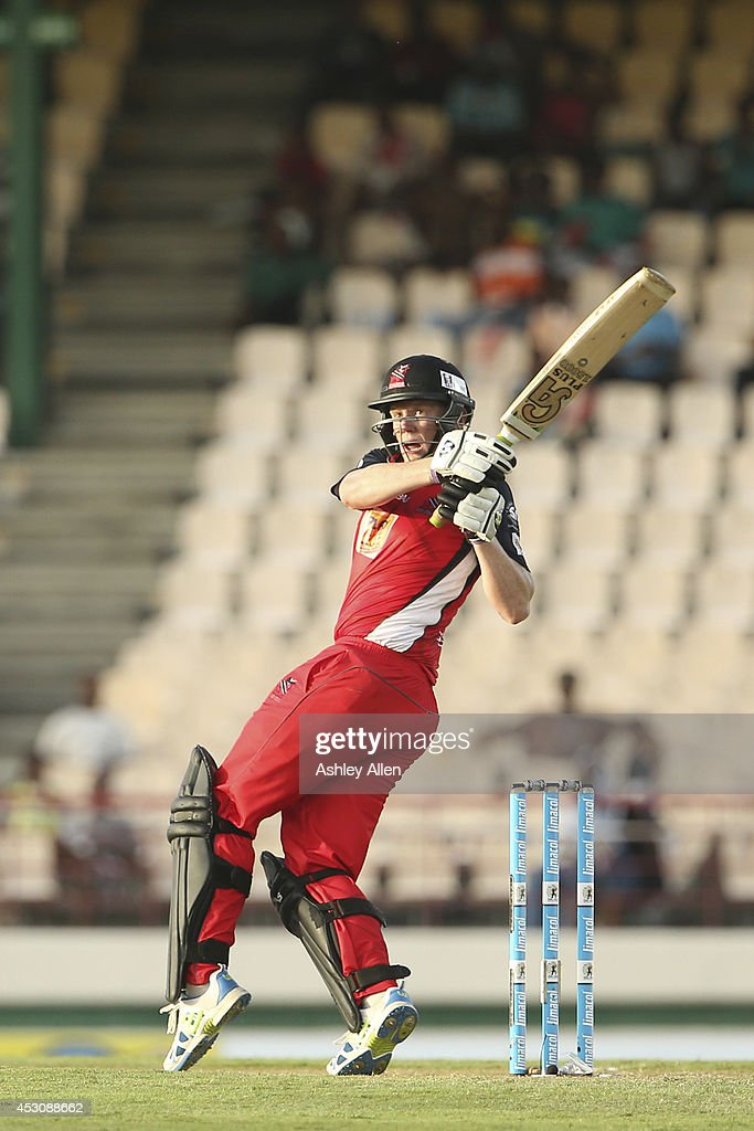 Kevin O'Brien of The Red Steel pulls during a match between St. Lucia Zouks and The Trinidad and Tobago Red Steel as part of week 4 of the Limacol Caribbean Premier League 2014 at Beausejour Stadium on August 02, 2014 in Castries, St. Lucia.