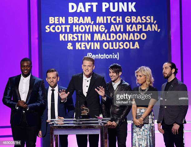 Kevin Olusola Ben Bram Scott Hoying Mitch Grassi Kirstin Maldonado and Avi Kaplan of the Pentatonix speak onstage during The 57th Annual GRAMMY...