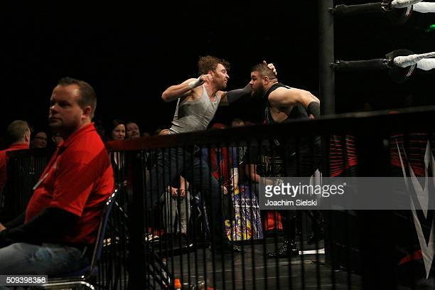 Kevin Owens challenges Dean Ambrose during WWE Germany Live Bremen Road To Wrestlemania at OVBArena on February 10 2016 in Bremen Germany