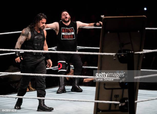 Kevin Owens is attacked by Roman Reigns during to the WWE Live Duesseldorf event at ISS Dome on February 22 2017 in Duesseldorf Germany