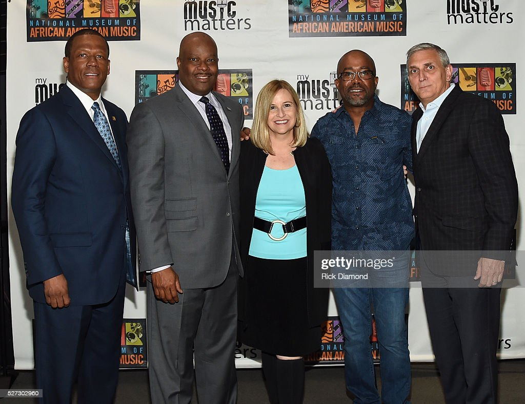 Kevin P. Lavender NMAAM Board/Fifth Third Bank, H. Beecher Hicks III, NMAAM President/CEO, Nashville Mayor Megan Barry, Singer/Songwriter/NMAAM National Chairperson Darius Rucker and Butch Spyridon CVC President/NMAAM BOD attend NMAAM National Chairs And Fundraising Progress Press Confrence at Nashville Vistor Center on May 2, 2016 in Nashville, Tennessee.
