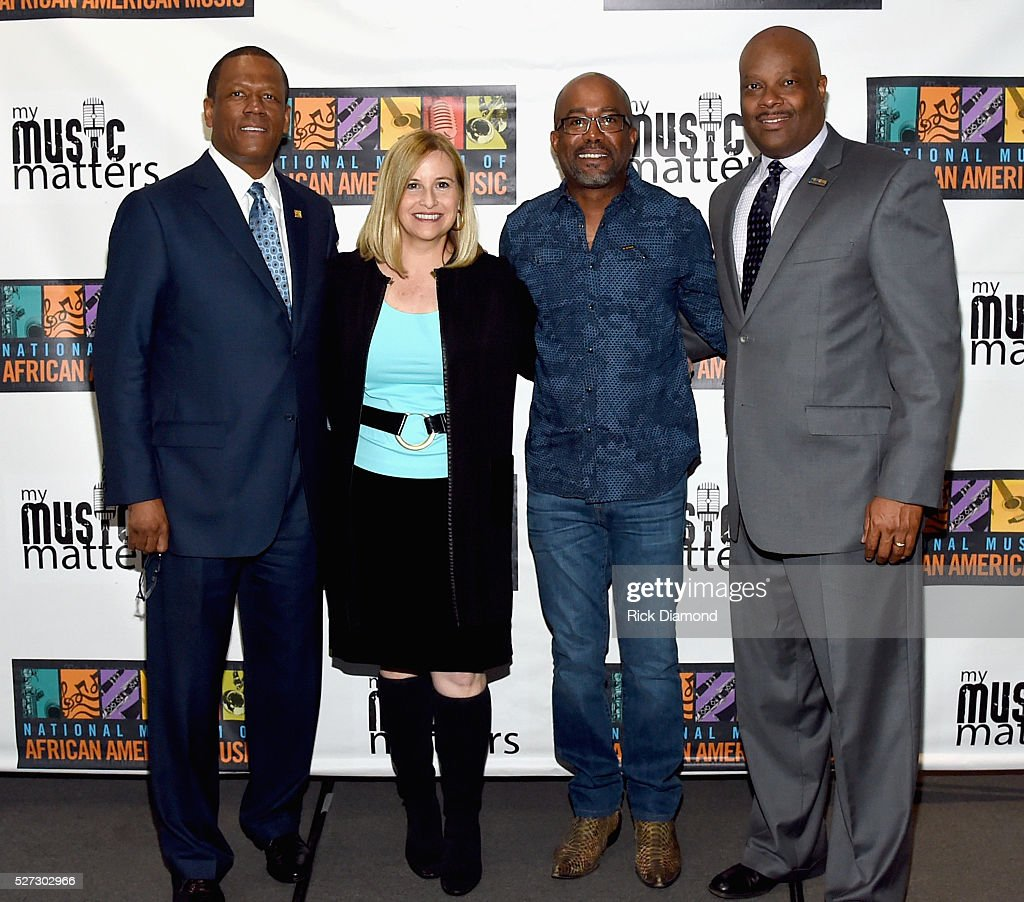 Kevin P. Lavender NMAAM Board/Fifth Third Bank, H. Beecher Hicks III, NMAAM President/CEO, Nashville Mayor Megan Barry and Singer/Songwriter/NMAAM National Chairperson Darius Rucker attend NMAAM National Chairs And Fundraising Progress Press Confrence at Nashville Vistor Center on May 2, 2016 in Nashville, Tennessee.