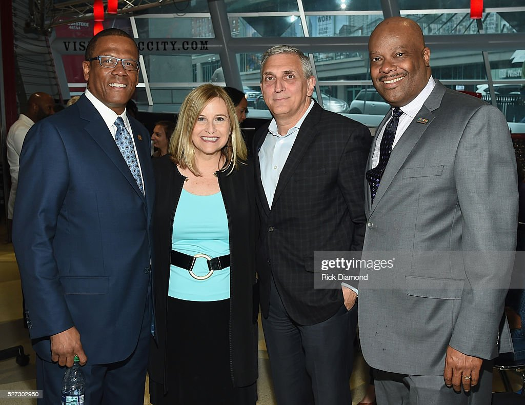 Kevin P. Lavender NMAAM Board/Fifth Third Bank, Nashville Mayor Megan Barry, Butch Spyridon CVC President/NMAAM BOD and H. Beecher Hicks III NMAAM President/CEO attend NMAAM National Chairs And Fundraising Progress Press Confrence at Nashville Vistor Center on May 2, 2016 in Nashville, Tennessee.