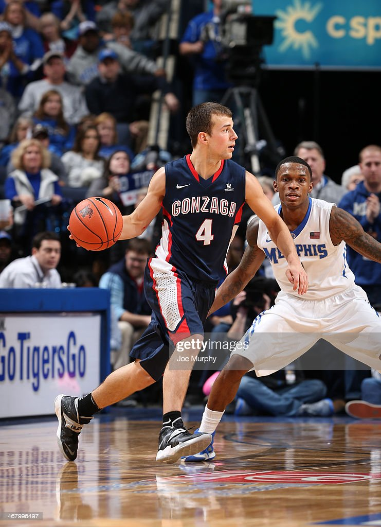 Kevin Pangos #4 of the Gonzaga Bulldogs drives with the ball against Joe Jackson #1 of the Memphis Tigers on February 8, 2014 at FedExForum in Memphis, Tennessee. Memphis beat Gonzaga 60-54.
