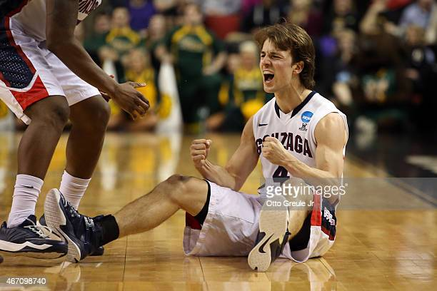 Kevin Pangos of the Gonzaga Bulldogs reacts after a play in the second half of the game against the North Dakota State Bison during the second round...