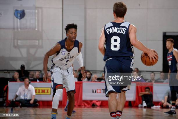 Kevin Pangos of the Washington Wizards handles the ball against Kobi Simmons of the Memphis Grizzlies during the 2017 Summer League on July 8 2017 at...