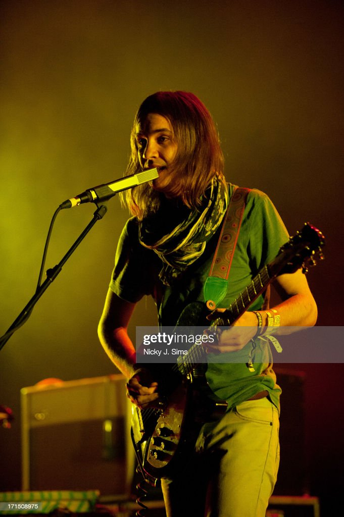 Kevin Parker of Tame Impala performs on stage at Hammersmith Apollo on June 25 2013 in London England