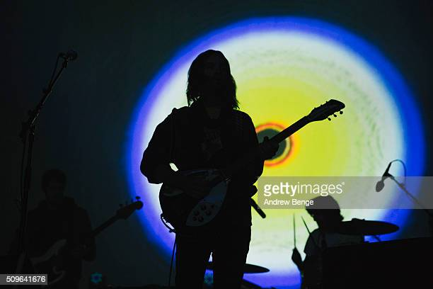 Kevin Parker of Tame Impala performs on stage at Manchester Arena on February 11 2016 in Manchester England