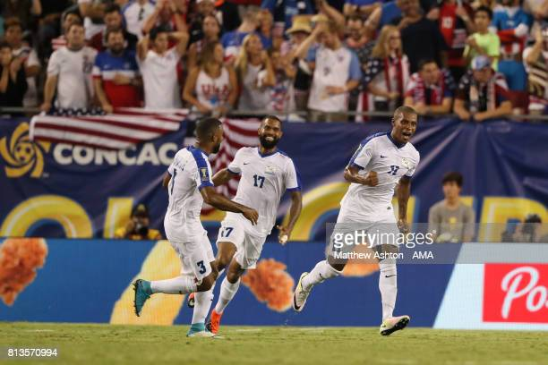 Kevin Parsemain of Martinique celebrates scoring a goal to make the score 22 during the 2017 CONCACAF Gold Cup Group B match between the United...