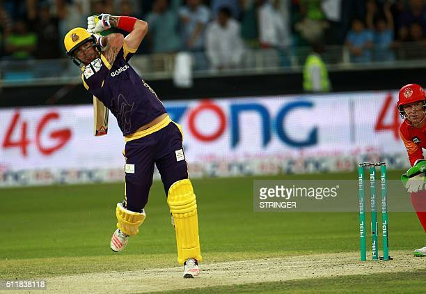 Kevin Peterson of Quetta Gladiators plays a shot against Islamabad United during the final of Pakistan Super League at the Dubai cricket stadium on...