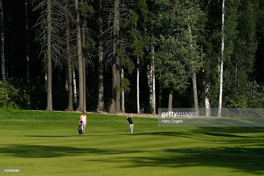 Kevin Phelan of Ireland plays off the fairway at the fifteenth on day two of the M2M Russian Open at Tseleevo Golf & Polo Club on July 25, 2014 in Moscow, Russia.