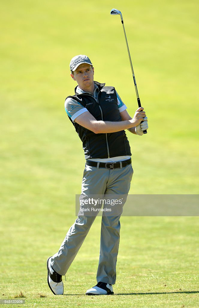 Kevin Phelan of Ireland second shot to the 1st during the final day of the 2016 SSE Scottish Hydro Challenge at the MacDonald Spey Valley Golf Course on June 26, 2016 in Aviemore, Scotland.