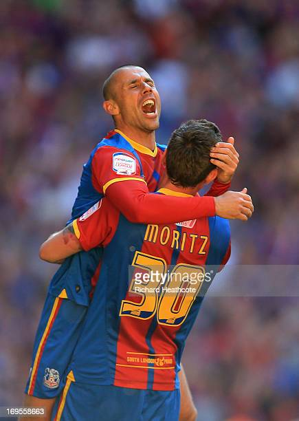 Kevin Phillips and Andre Moritz of Crystal Palace celebrate victory after the npower Championship Playoff Final match between Watford and Crystal...