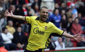 Kevin Phillips of Aston Villa celebrates scoring his teams second goal during the Barclays Premiership match between Middlesbrough and Aston Villa at...