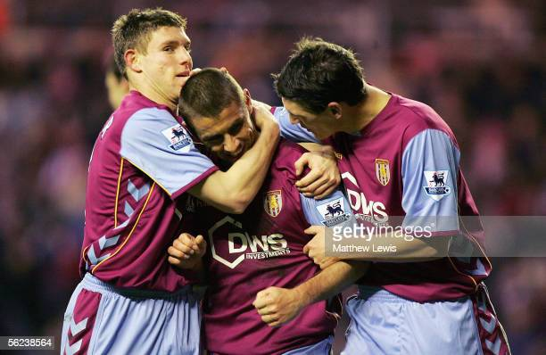 Kevin Phillips of Aston Villa is congratulated by team mates on his goal during the Barclays Premiership match between Sunderland and Aston Villa at...