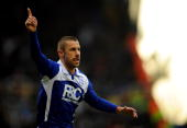 Kevin Phillips of Birmingham City celebrates his goal to make it 21 during the Barclays Premier League match between Birmingham City and...