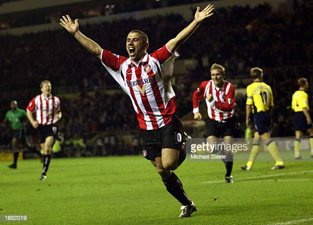 Kevin Phillips of Sunderland celebrates after scoring the opening goal during the FA Barclaycard Premiership match between Sunderland and Tottenham...