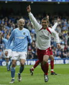 Kevin Phillips of Sunderland celebrates scoring his first goal against Manchester City during the FA Barclaycard Premiership match between Manchester...