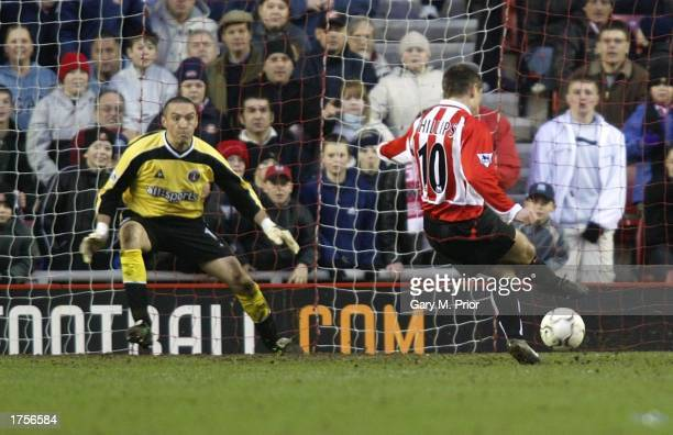 Kevin Phillips of Sunerland scores a penalty during the FA Barclaycard Premiership match between Sunderland and Charlton Athletic at the Stadium of...
