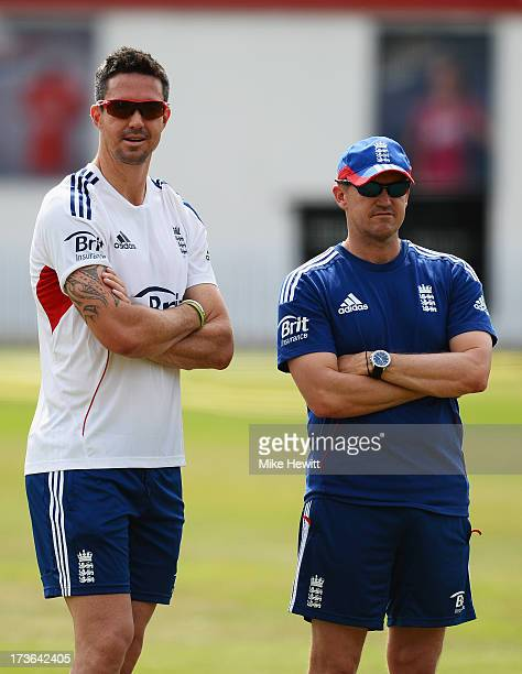 Kevin Pietersen and Andy Flower of England look on during an England Nets Session at Lord's Cricket Ground on July 16 2013 in London England