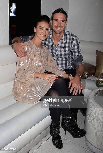 Kevin Pietersen and his wife Jessica Taylor pose at the Brylcreem Paste Lauch Party at Vendome on October 27 2010 in London England To celebrate this...