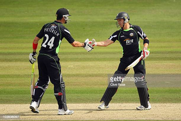 Kevin Pietersen and Jason Roy of Surrey shake hands during the Clydesdale Bank 40 match between Sussex and Surrey on September 4 2010 in Hove England