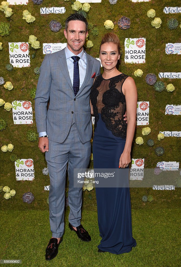 Kevin Pietersen and <a gi-track='captionPersonalityLinkClicked' href=/galleries/search?phrase=Jessica+Taylor&family=editorial&specificpeople=213327 ng-click='$event.stopPropagation()'>Jessica Taylor</a> arrive for The Horan And Rose event at The Grove on May 29, 2016 in Watford, England.