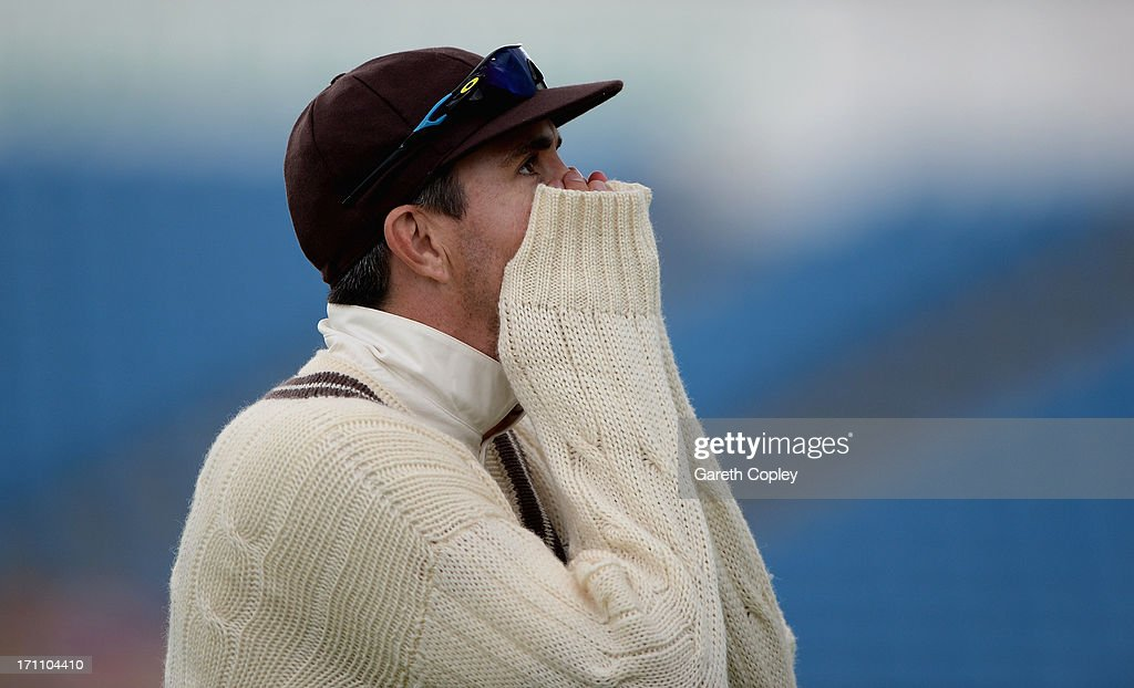 Kevin Pietersen leaves the field as bad light stops play during day two of the LV County Championship Division One match between Yorkshire and Surrey...