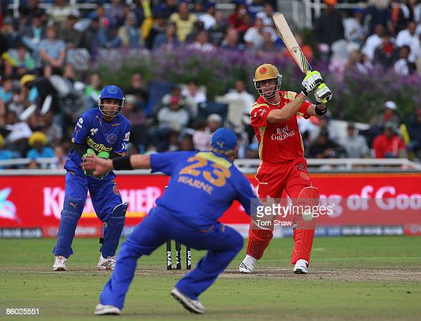 Kevin Pietersen of Bangalore hits out during the IPL T20 match between Rajasthan Royals and Royal Challengers Bangalore at Newlands Cricket Ground on...