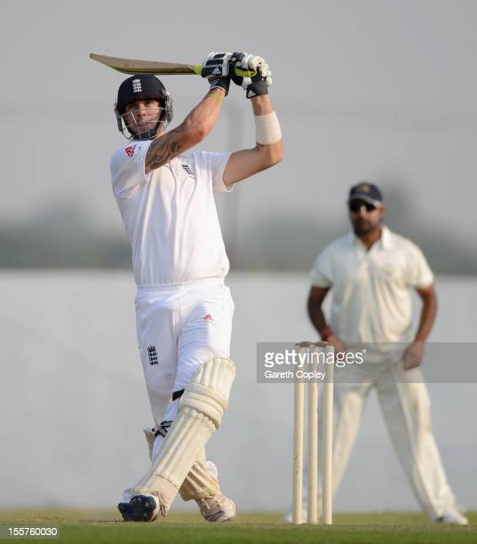 Kevin Pietersen of England bats during the tour match between England and Haryana at Sardar Patel Stadium ground B on November 8 2012 in Ahmedabad...