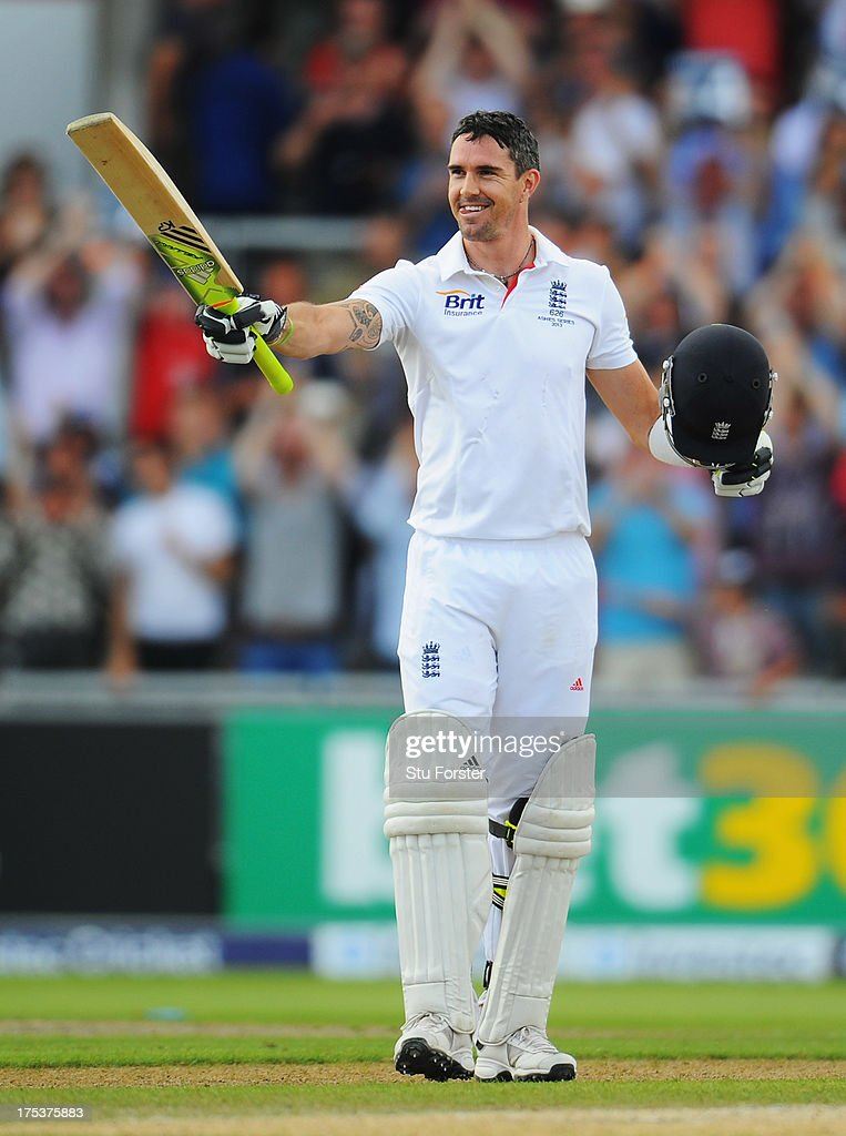 <a gi-track='captionPersonalityLinkClicked' href=/galleries/search?phrase=Kevin+Pietersen+-+Cricket+Player&family=editorial&specificpeople=202001 ng-click='$event.stopPropagation()'>Kevin Pietersen</a> of England celebrates his century during day three of the 3rd Investec Ashes Test match between England and Australia at Emirates Old Trafford Cricket Ground on August 3, 2013 in Manchester, England.