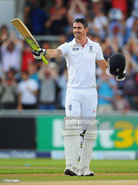 Kevin Pietersen of England celebrates his century during day three of the 3rd Investec Ashes Test match between England and Australia at Emirates Old...