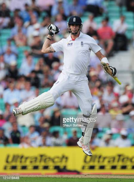 Kevin Pietersen of England celebrates his century during day two of the 4th npower Test Match between England and India at The Kia Oval on August 19...