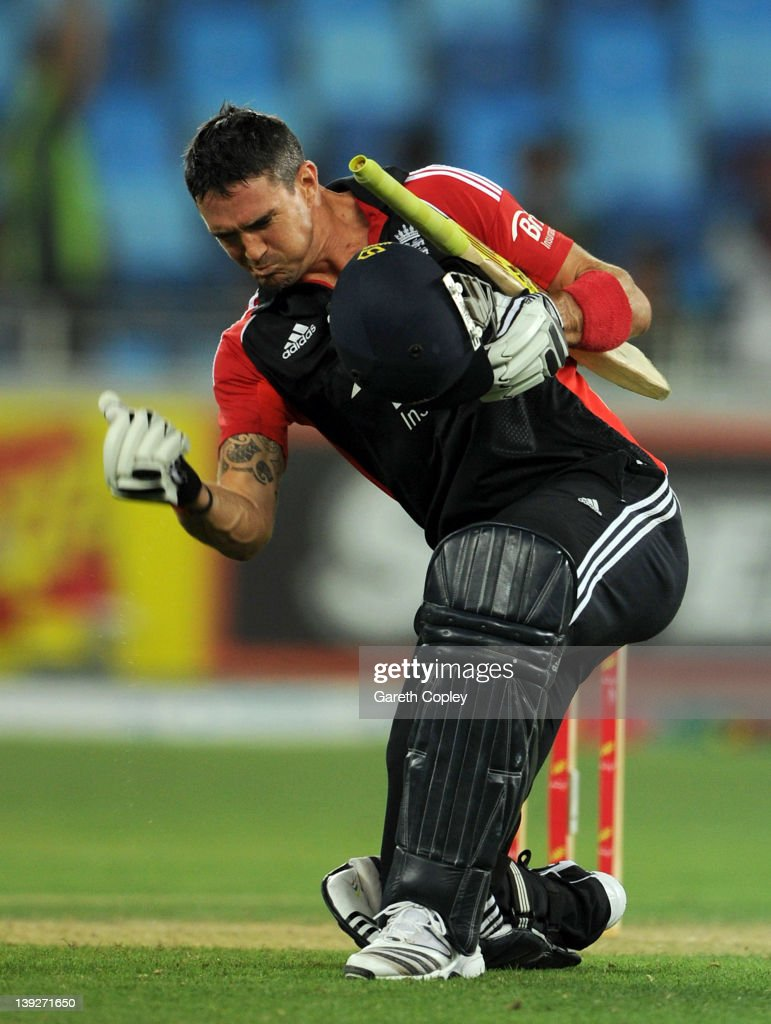 Kevin Pietersen of England celebrates reaching his century during the 3rd One Day International between Pakistan and England at Dubai International Stadium on February 18, 2012 in Dubai, United Arab Emirates.