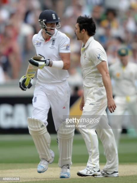 Kevin Pietersen of England confronts Mitchell Johnson of Australia during day three of the Fourth Ashes Test Match between Australia and England at...