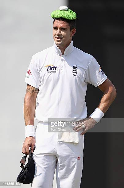 Kevin Pietersen of England cools down during day 1 of the tour match between the Sri Lankan Board XI and England at the R Premadasa Stadium on March...