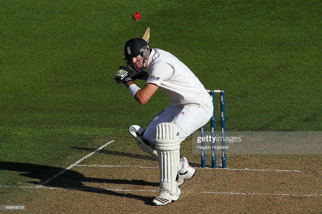 Kevin Pietersen of England ducks under a bouncer during day one of the Second Test match between New Zealand and England at the Basin Reserve on March 14, 2013 in Wellington, New Zealand.