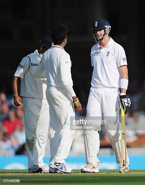 Kevin Pietersen of England exchanges words with Sreesanth of India during day two of the 4th npower Test Match between England and India at The Kia...